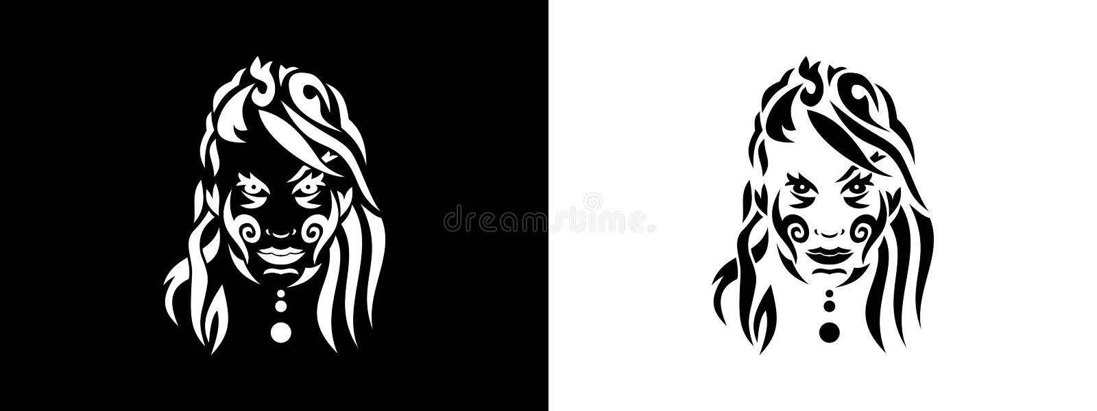 Tribal woman portrait, Woman portait in tribal style illustration in black and white vector illustration