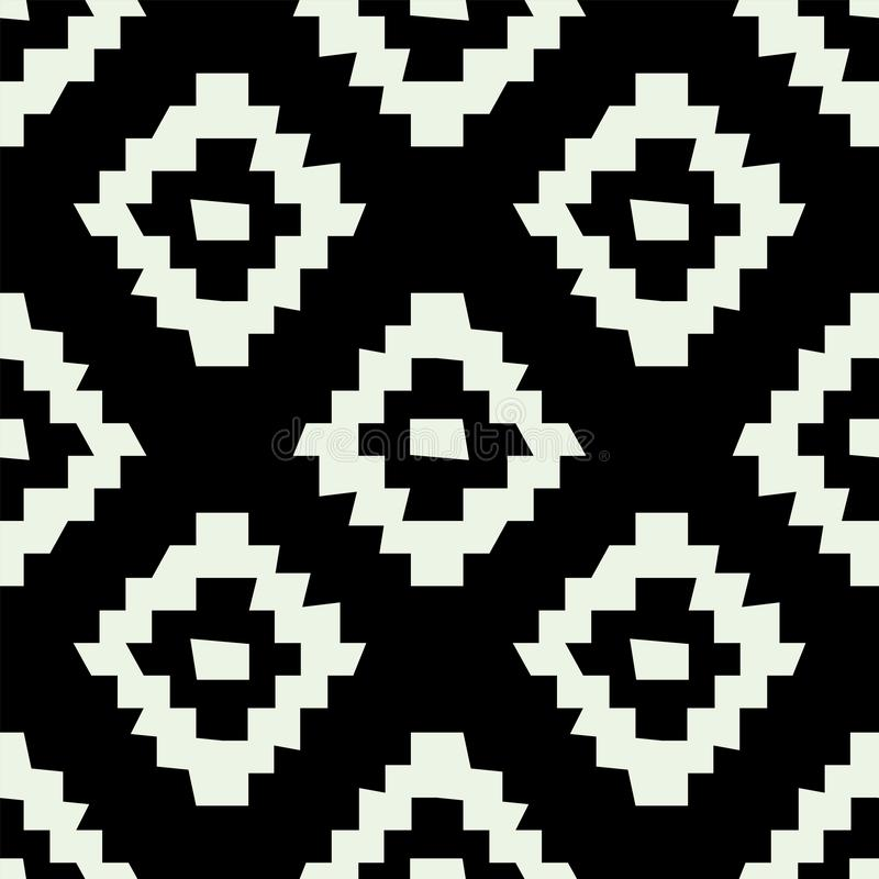 Tribal wonky simple geometric design of black and white color. Vector ethnic seamless pattern stock illustration