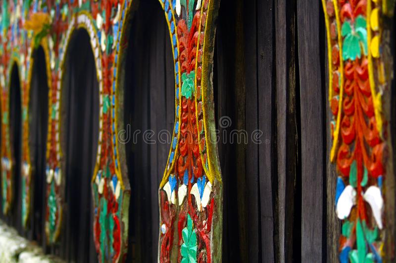 Tribal wood carved , decoration of traditional house stock image