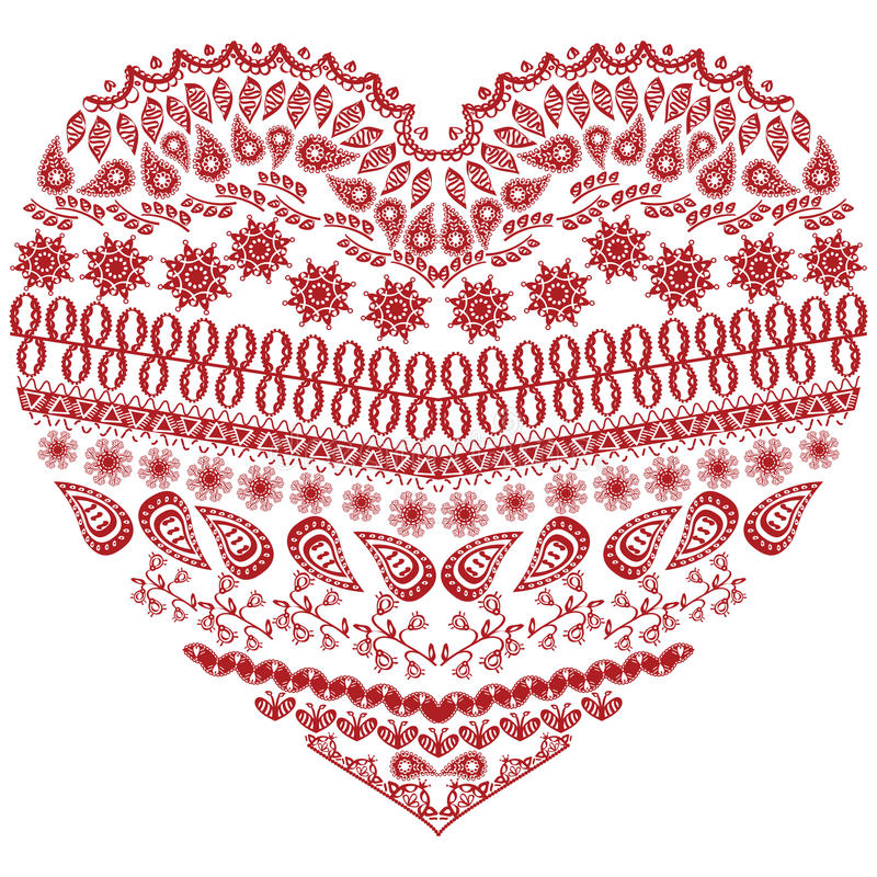 Tribal zentangle Aztec heart shape with floral elements in hand drawing lace ornamental style in red and white style vector illustration