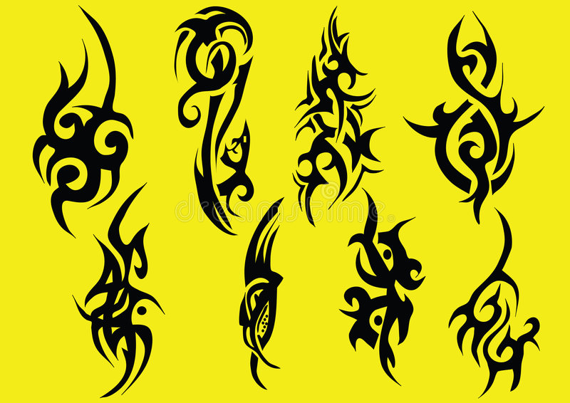 Tribals an yellow background royalty free illustration