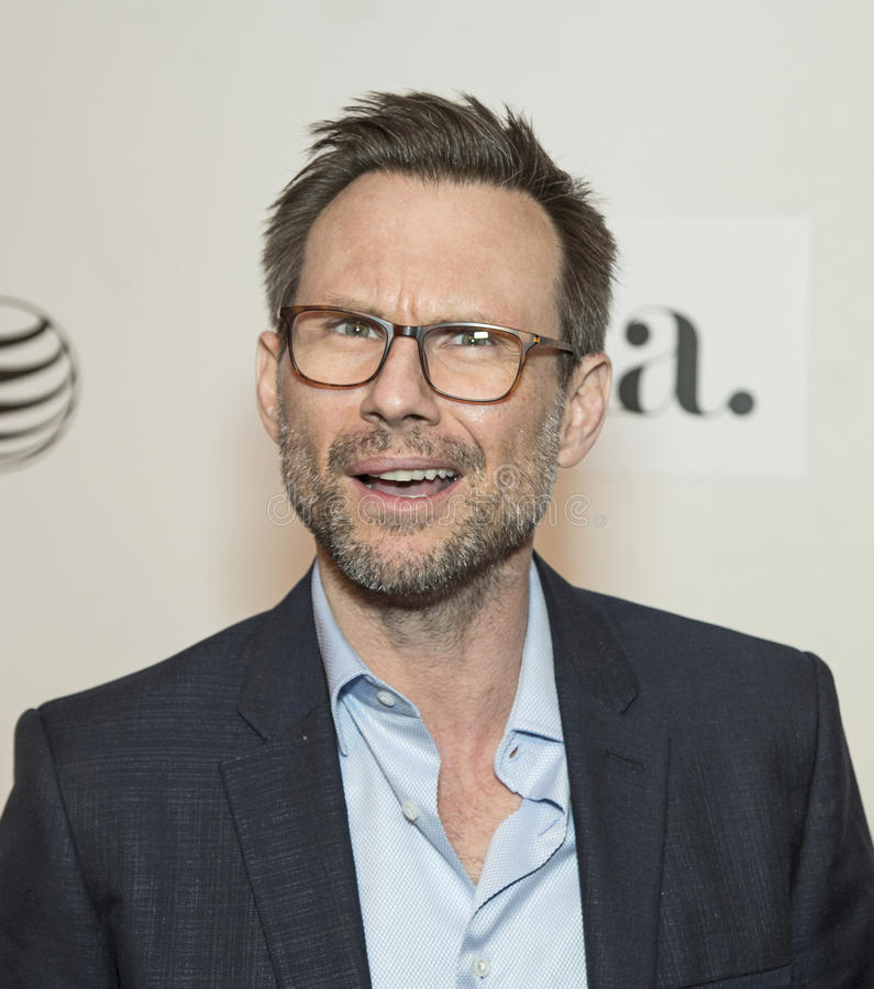 2015 Tribeca Film Festival. Actor Christian Slater arrives on the red carpet for the world premiere of Adderall Diaries at the 14th Annual Tribeca Film Festival stock photo