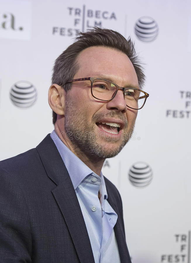 2015 Tribeca Film Festival. Actor Christian Slater conducts an interview with the media on the red carpet for the world premiere of Adderall Diaries at the 14th royalty free stock images