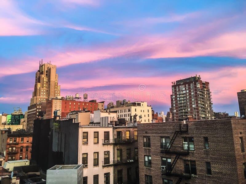 Tribeca, New York che trascura orizzonte rosa fotografie stock
