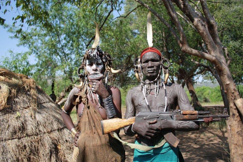 Tribo Etiópia de Mursi imagens de stock