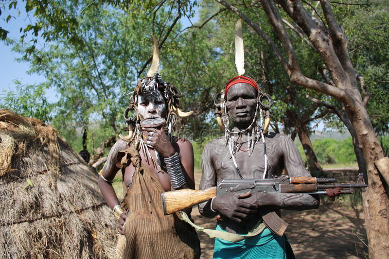 Tribu Ethiopie de Mursi images stock