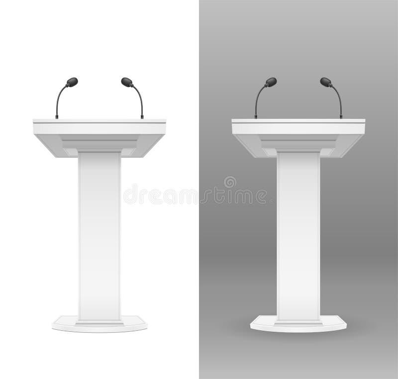 Tribuna blanca con el micrófono para el altavoz Ilustraci?n del vector ilustración del vector