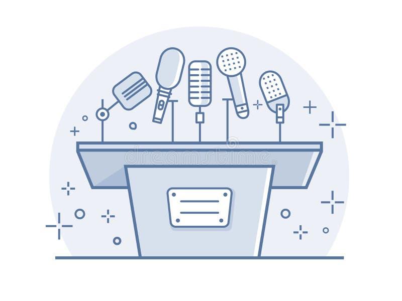 Tribuna com microfones ilustração royalty free