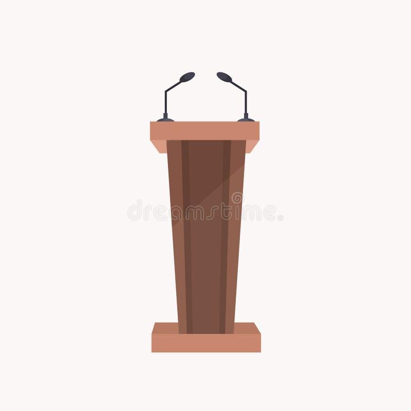 tribuna de apresentação em forma de madeira marrom com fundo branco plano de microfones ilustração stock