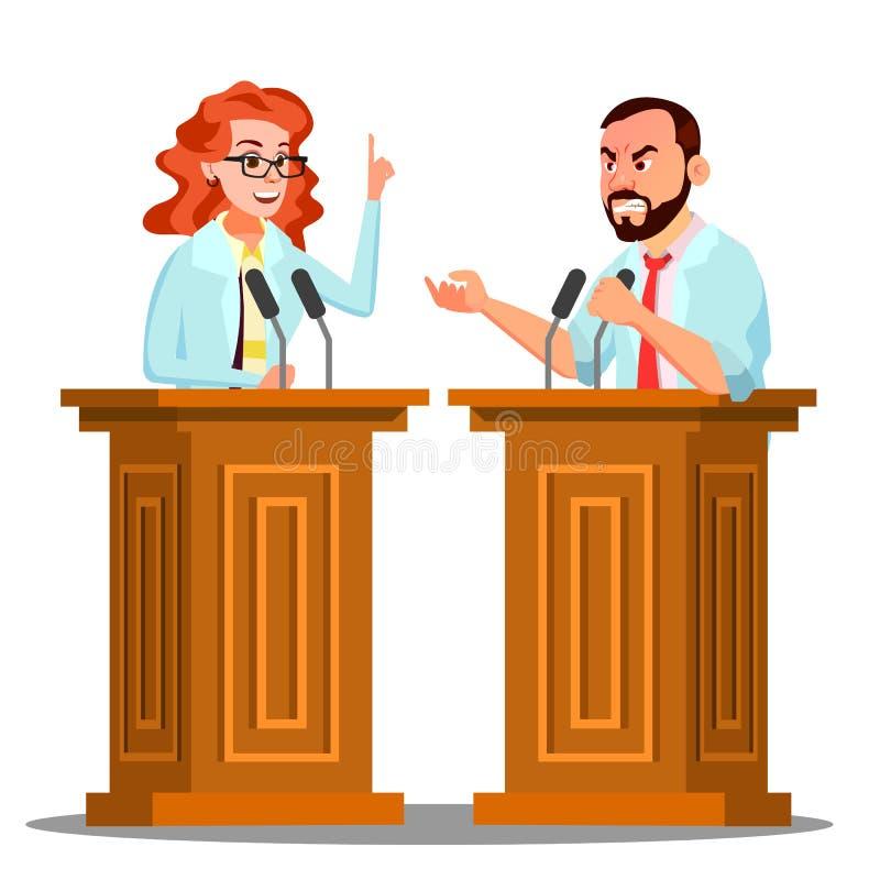Tribuna de los dos doctores Argue Behind The con el micrófono en el vector de la conferencia Ejemplo aislado de la historieta stock de ilustración