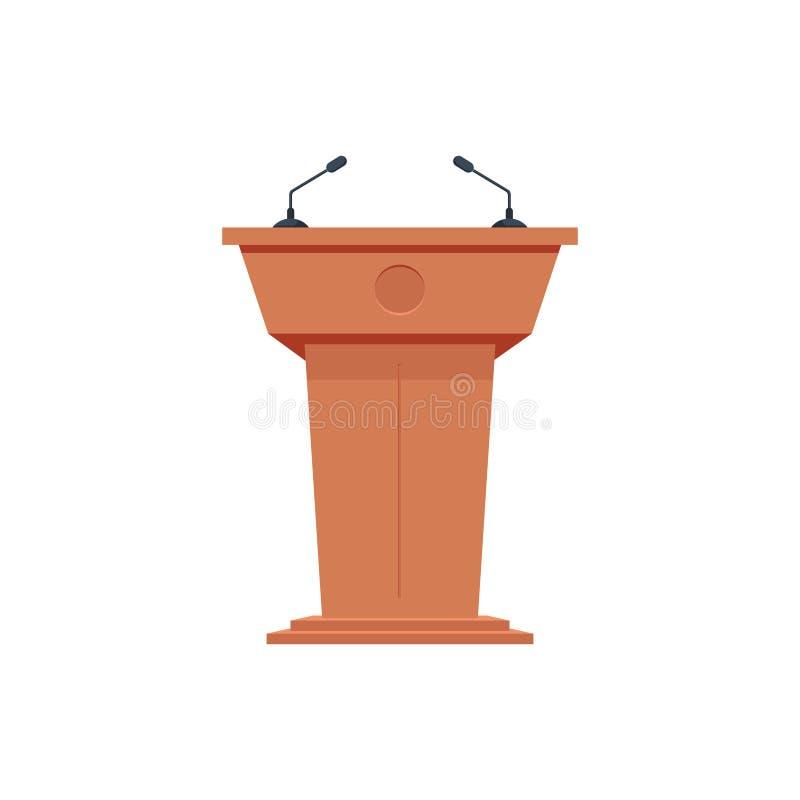 Tribuna de madeira do suporte da tribuna do pódio com microfones Ícone liso ilustração do vetor