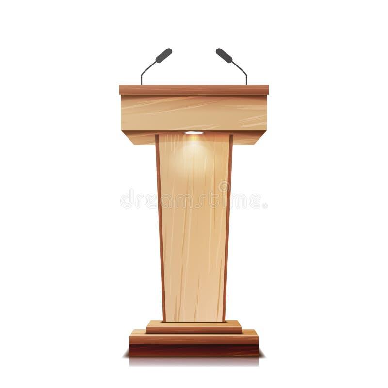 Tribuna de madeira realística vetor isolado Com dois microfones Tribuna clássica de madeira do suporte do pódio Ilustração ilustração stock