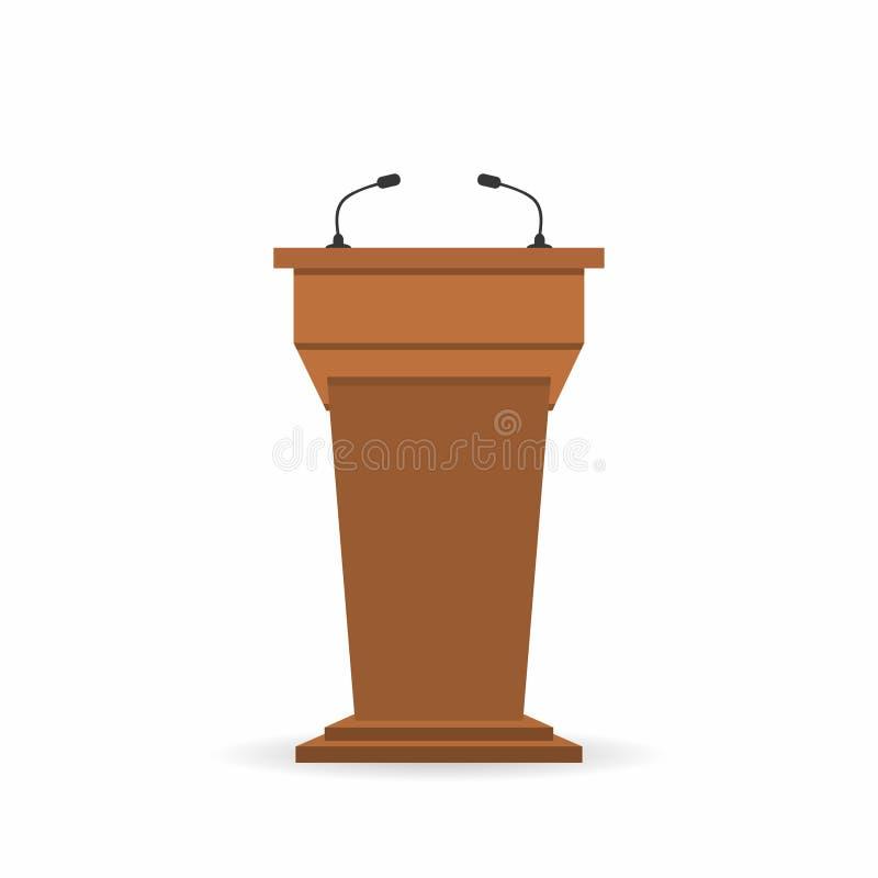 Tribuna de madera del soporte de la tribuna del podio con los micrófonos Visión trasera desde el lado de las audiencias stock de ilustración