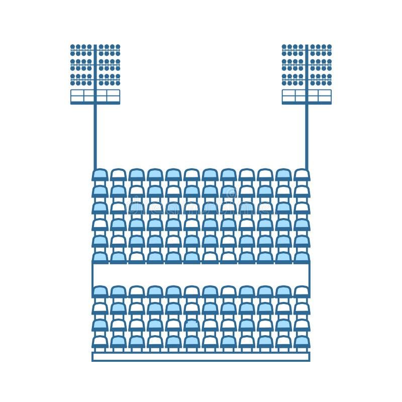 Tribuna dello stadio con i sedili e l'icona leggera dell'albero illustrazione di stock