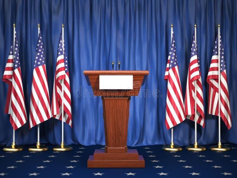 Tribuna do orador do pódio com bandeiras dos EUA Instrução do presidente de ilustração stock
