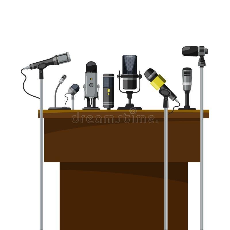 Tribuna para oradores e microfones diferentes Visualização da conferência ilustração do vetor