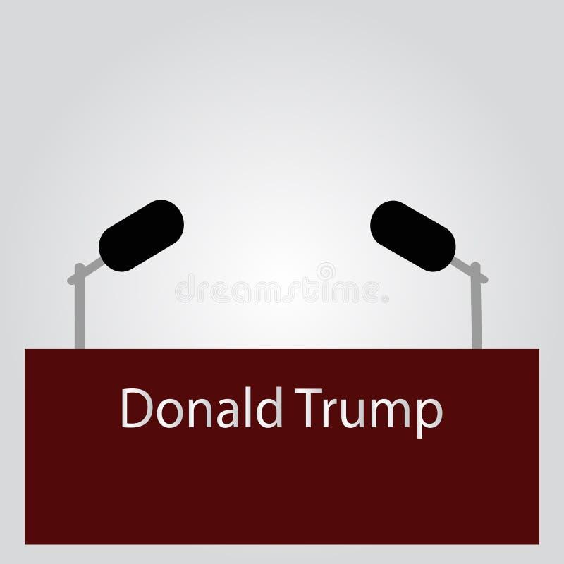 Tribuna para uma entrevista, o orador Donald Trump Conferência de imprensa Cinza para separar microfones em um fundo do pulmão Ve ilustração royalty free