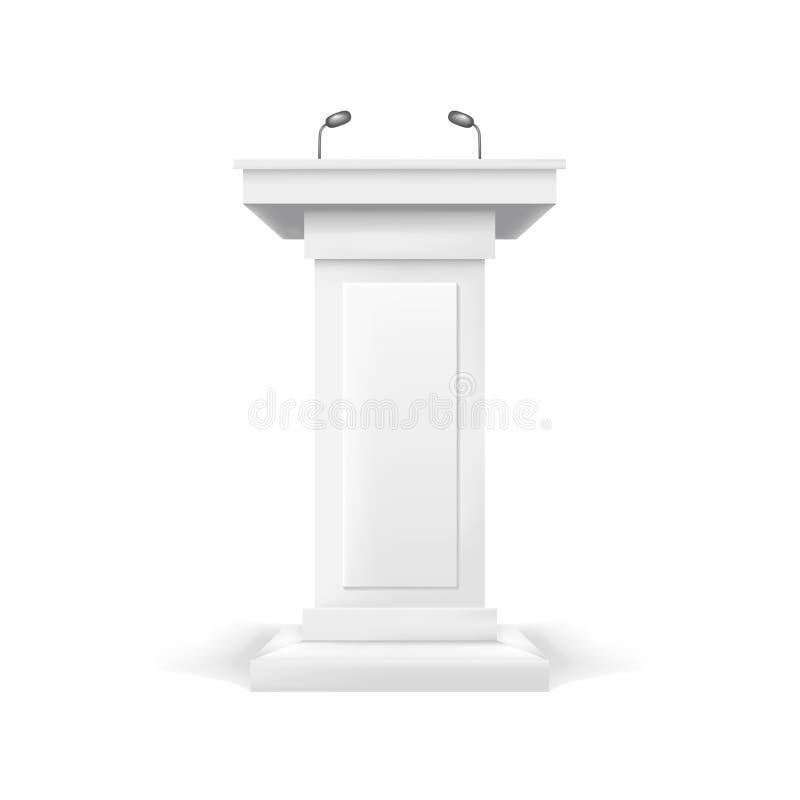 Tribuna realistica di bianco dello spazio in bianco del modello Vettore royalty illustrazione gratis