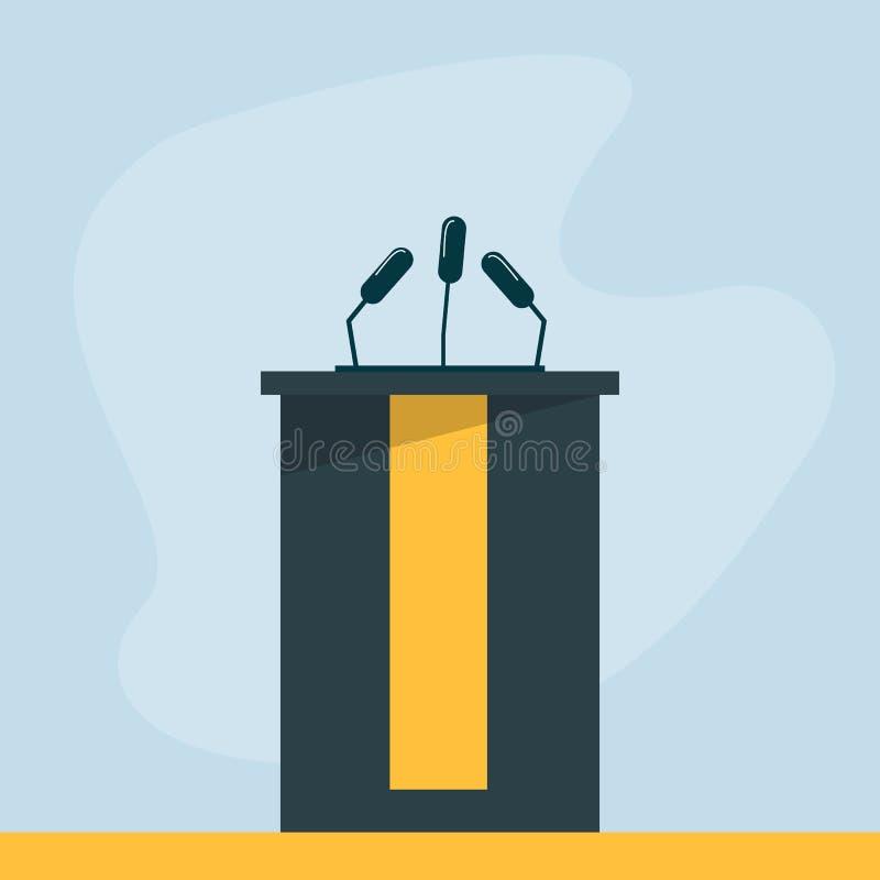 Tribuna vuota per la conferenza, il dibattito e la presentazione illustrazione di stock