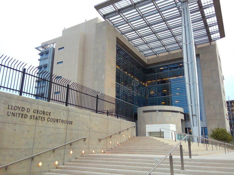 Tribunal do Estados Unidos exterior em Las Vegas do centro fotografia de stock