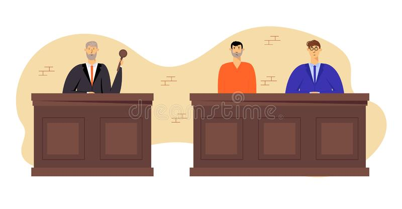 Tribunal and Justice Concept, Grey Haired Judge Wearing Black Gown Hold Gavel. Accused Man in Prison Robe Sitting stock illustration