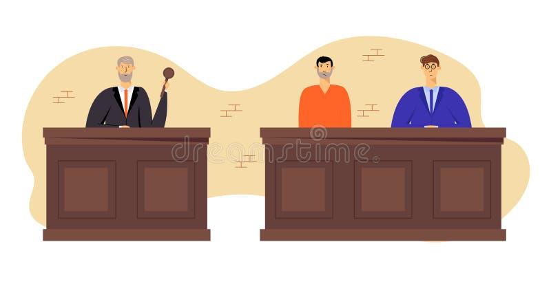 Tribunal-und Gerechtigkeits-Konzept, Grey Haired Judge Wearing Black-Kleidergriff-Hammer Beschuldigter Mann im Gefängnis-Roben-Si stock abbildung