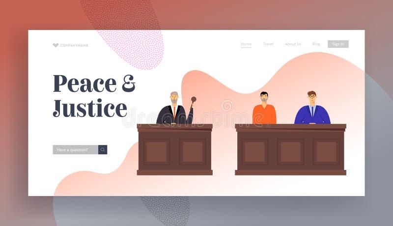 Tribunal-und Gerechtigkeits-Website-Landungs-Seite, Richter im schwarzen Kleidergriff-Hammer Beschuldigter Mann im Gefängnis-Robe lizenzfreie abbildung