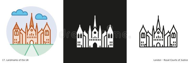 Tribunales reales de icono de la Justicia stock de ilustración