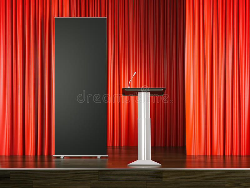 Tribune and black rollup banner on red stage. 3d rendering vector illustration
