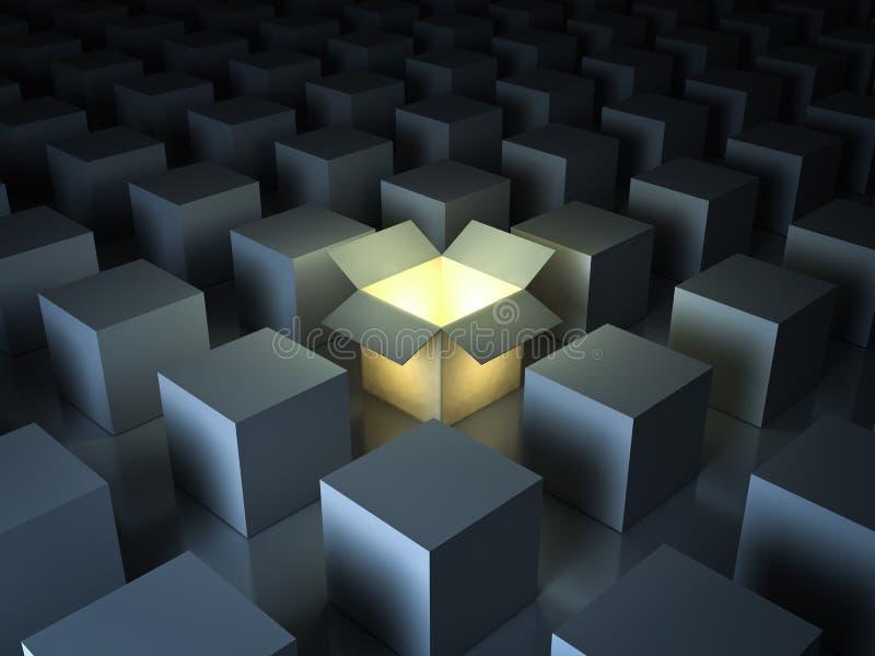 Tribune uit van de menigte, verschillende creatieve ideeconcepten, Één het lichtgevende geopende lichte doos gloeien stock illustratie