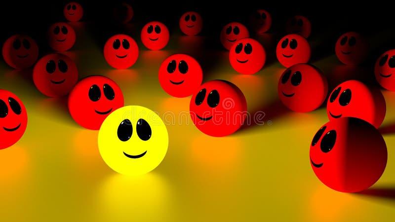 Tribune uit van het menigte gele het glimlachen gezicht vector illustratie
