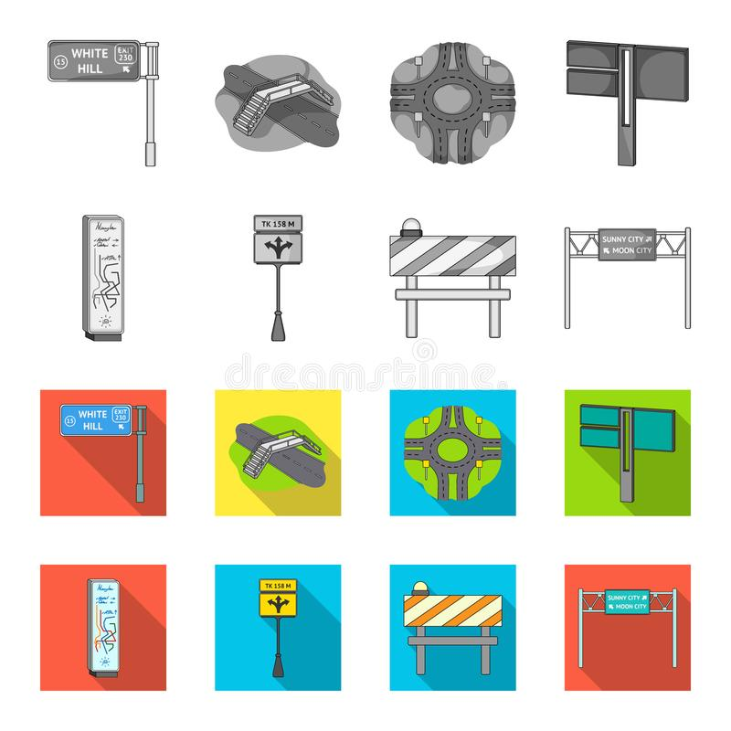 Tribunes en tekens en ander Webpictogram in zwart-wit, vlakke stijl Beperkers van verkeerspictogrammen in vastgestelde inzameling vector illustratie