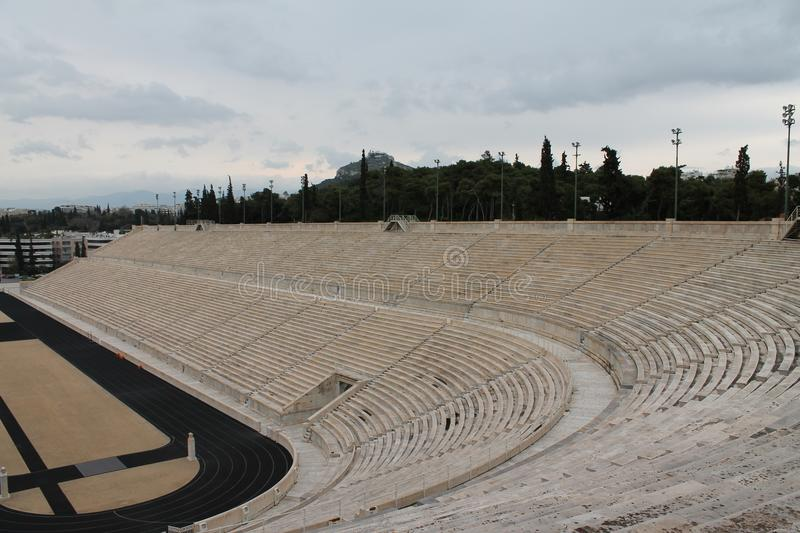 Tribunes van stadion in Athene royalty-vrije stock foto's