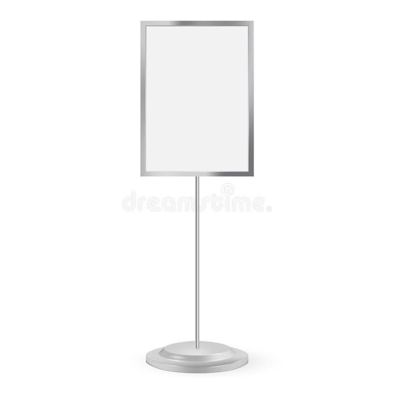 Tribunesignage met het lege scherm Vector illustratie Adverterend signage model op witte achtergrond wordt geïsoleerd die royalty-vrije illustratie