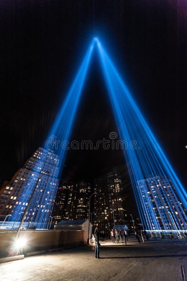 Download Tribute In Light Beams Of Light Memorial. Editorial Stock Image - Image: 32422829