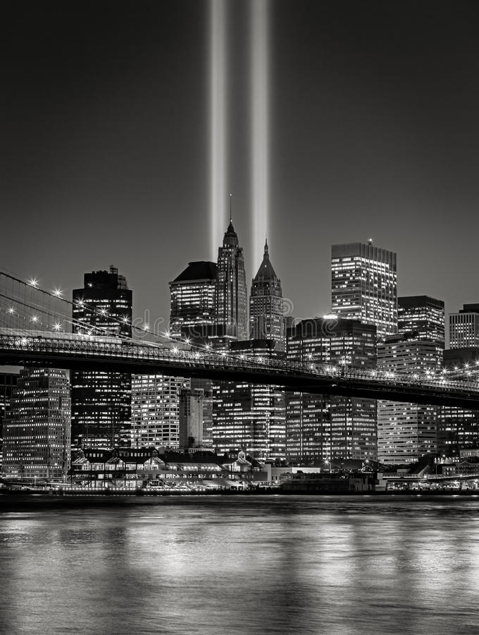 Tribute in Light, September 11 Commemoration, New York City. Twin beacons of light known as The Tribute in Light, in Lower Manhattan, New York City royalty free stock images