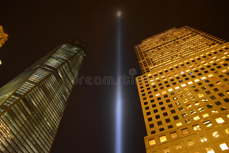 Tribute in Light. Shines between World Trade Center Tower one and World Financial Center to mark the anniversary of 9/11 royalty free stock photo