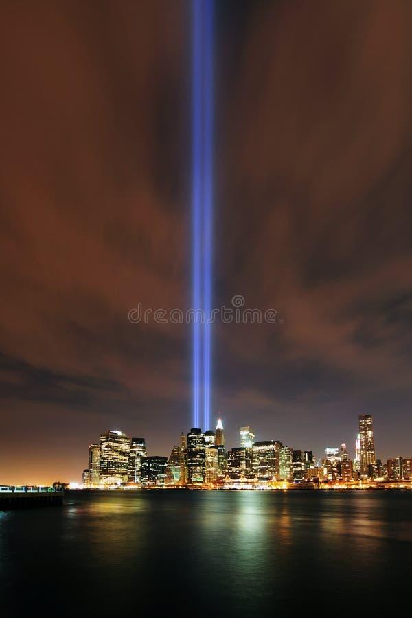 Tribute in Lights, 9/11 Manhattan, 2010 stock photos