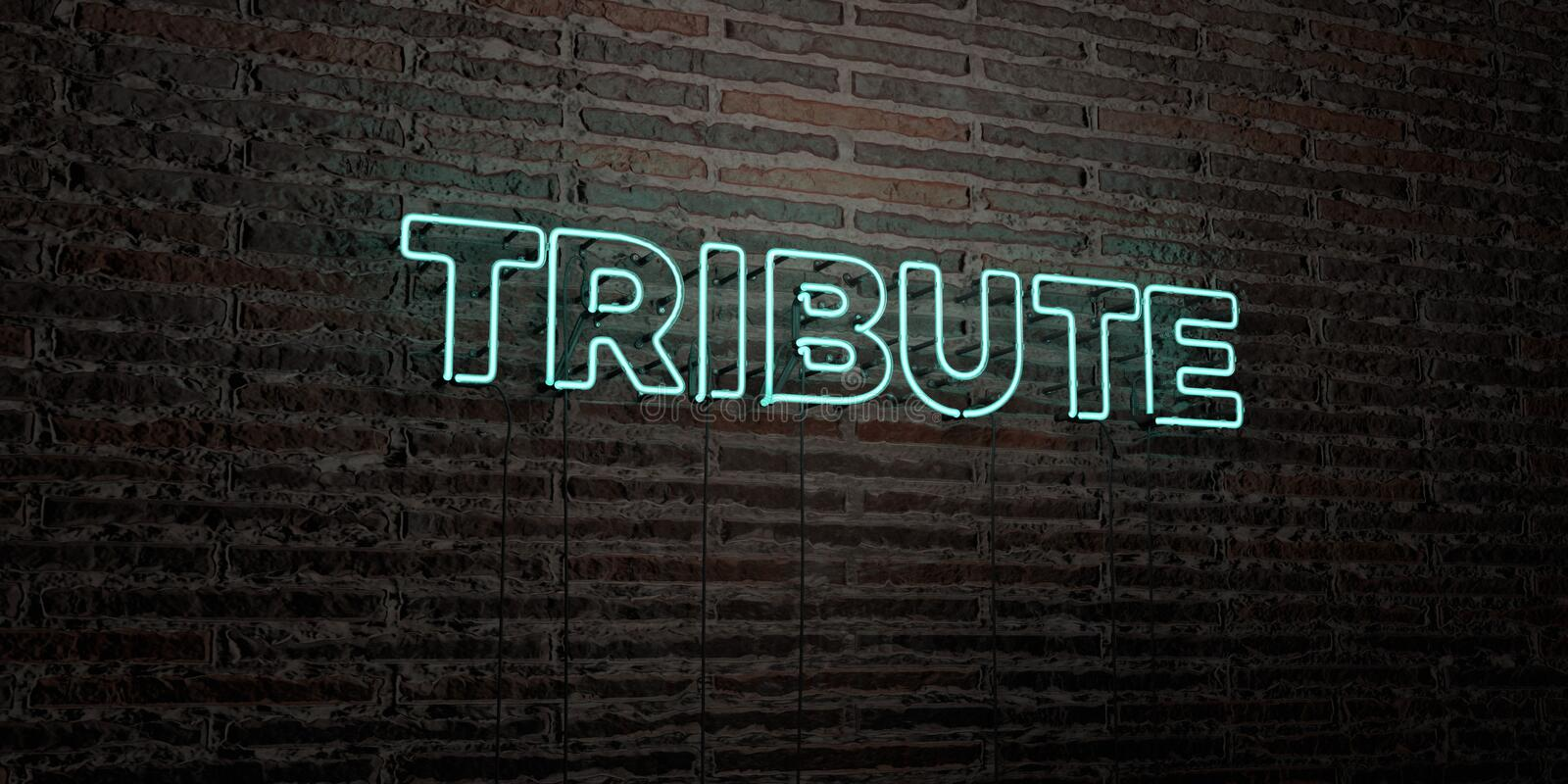 TRIBUTE -Realistic Neon Sign on Brick Wall background - 3D rendered royalty free stock image. Can be used for online banner ads and direct mailers royalty free illustration