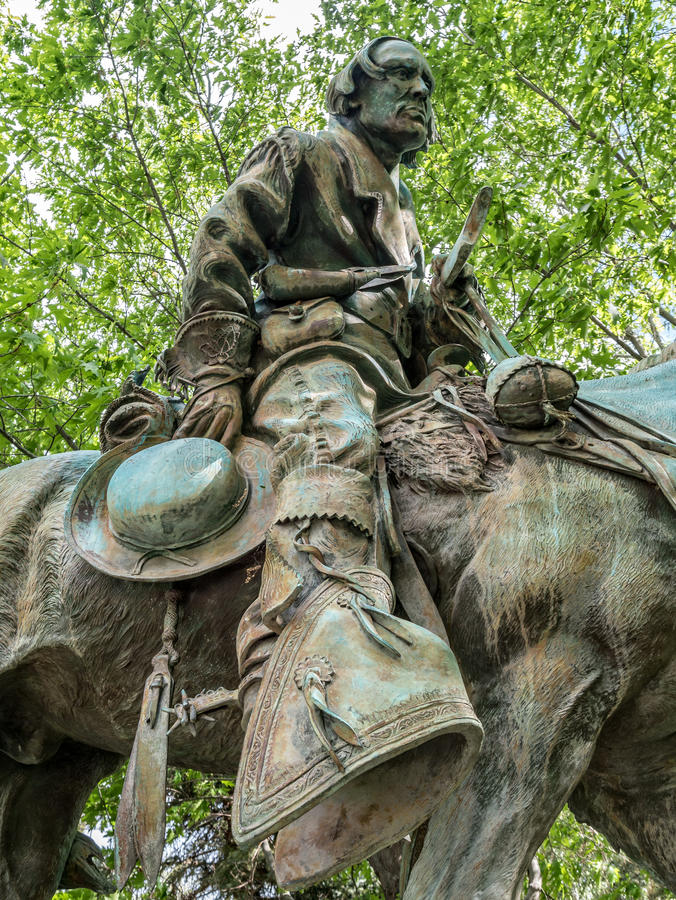 Tribute to Kit Carson. Statue of Kit Carson on the State Capitol grounds pays tribute to the scout and frontiersman royalty free stock photo