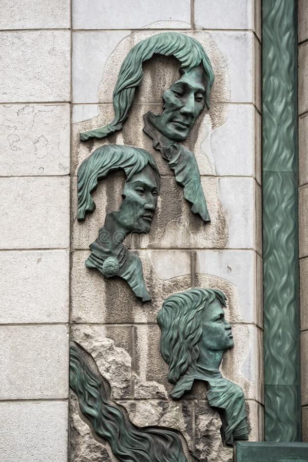 Tribute to native indians in Quebec City. Canada stock photos