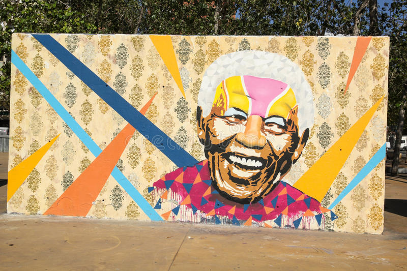 Tribute to Nelson Mandela. In Barcelona, Spain. He was the first democratically elected South African president by universal suffrage