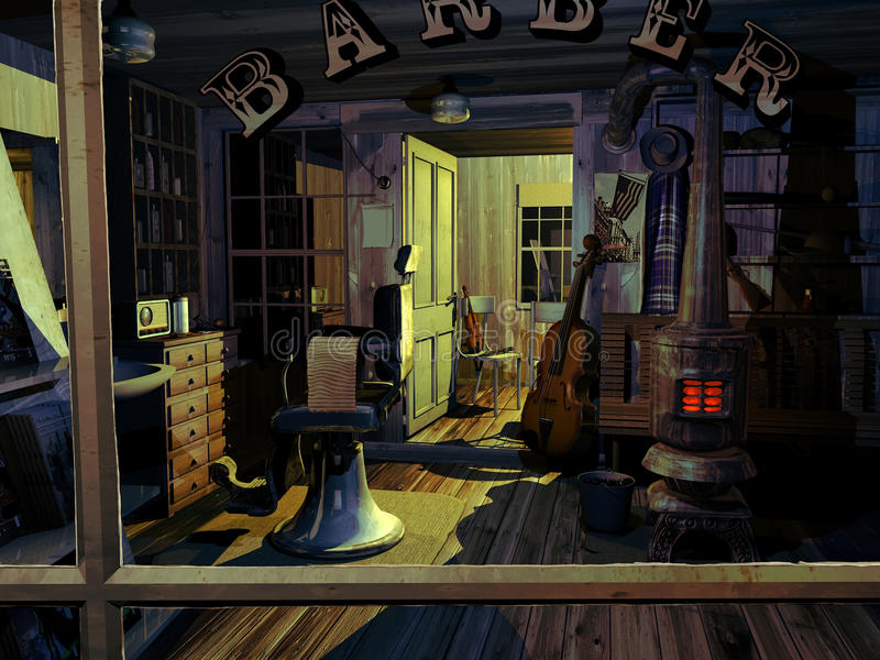 Tribute to Norman Rockwell. With a reinvented recreation in 3D, inspired on Shuffletons barbershop, after the musicians left the place royalty free illustration