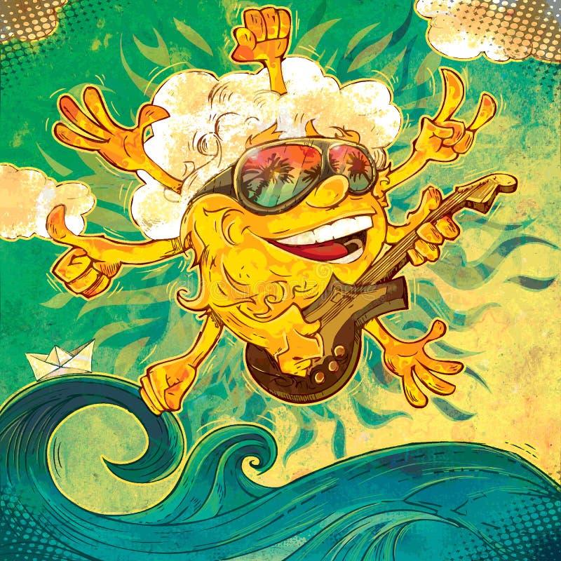 Tribute to summer rock sun. Art vector illustration