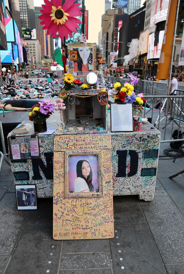 Tribute To Teenage Victim. Tribute to the 18 year old teenager, Alyssa Elsman, killed by a deranged intoxicated driver in Times Square .Manhattan, NY. This Year stock photos