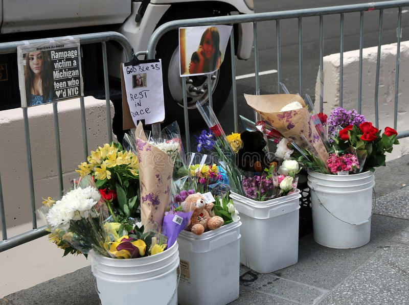 Tribute To Teenage Victim. Tribute to the 18 year old teenager, Alyssa Elsman, killed by a deranged intoxicated driver in Times Square .Manhattan, NY stock photography