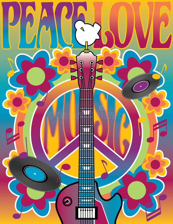 Tribute to Woodstock. An illustration of a guitar, peace symbol and dove dedicated to the Woodstock Music and Art Fair of 1969. Elements are on separate layers
