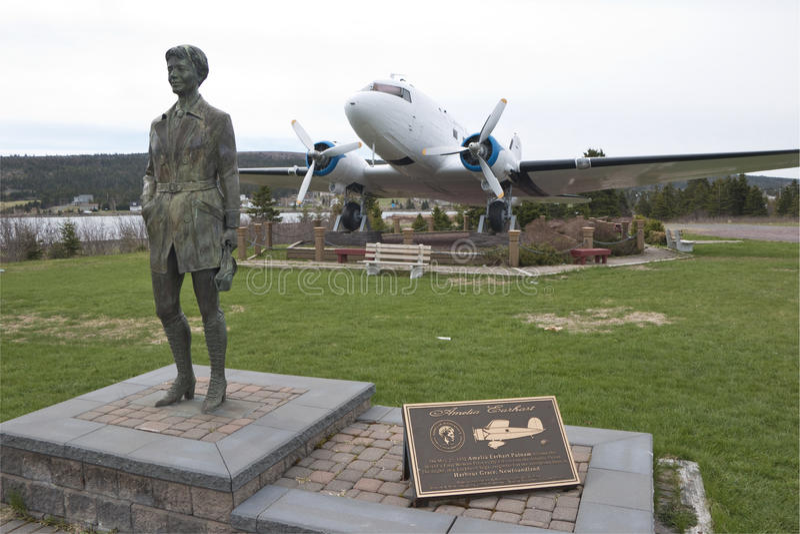 Tributo a Amelia Earhart, porto Grace, Terra Nova fotografia de stock