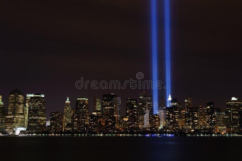 Tributo en la luz - 9/11/2010 imagen de archivo libre de regalías