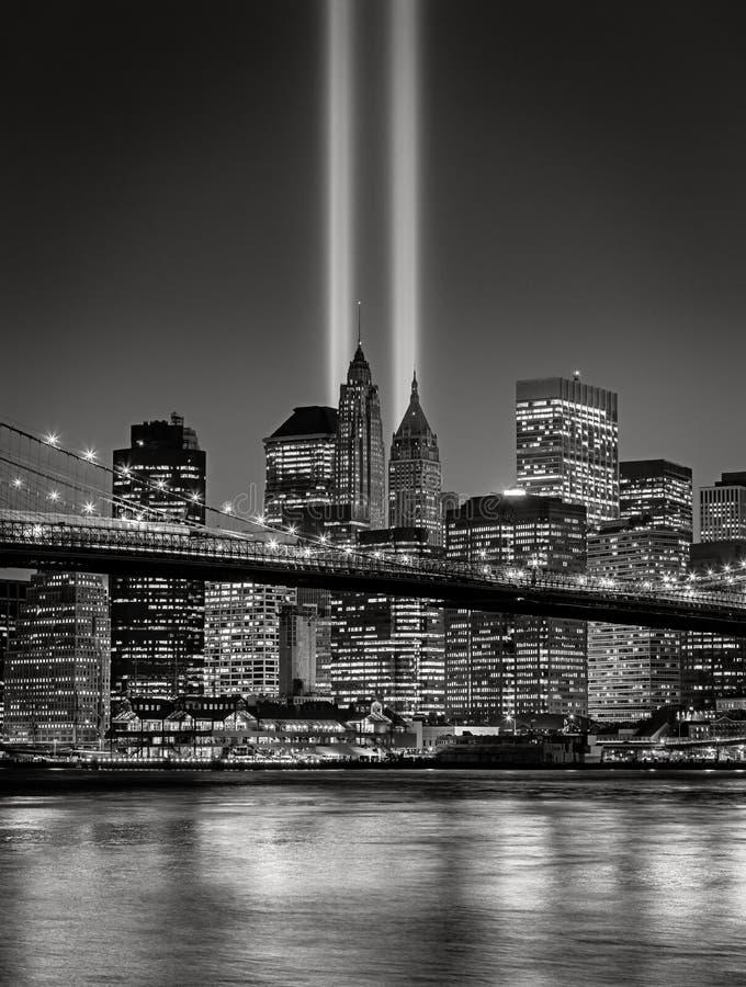 Tributo en la luz, el 11 de septiembre conmemoración, New York City imágenes de archivo libres de regalías